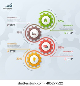 Timeline business infographic template with gears cogwheels 4 steps, processes, parts, options. Vector illustration.