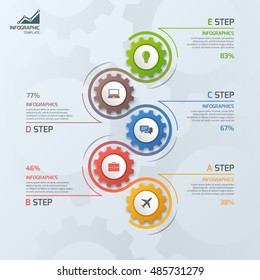 Timeline business infographic template with gears cogwheels 5 steps, processes, parts, options. Vector illustration.