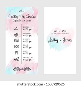 Timeline card design template elegance wedding invitation with pink and blue watercolor background Vector illustration Vector