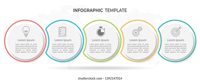 Timeline circle infographic  template 5 options or steps.
