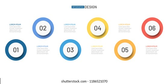 Timeline circle vector infographic template. Bisiness concept with 6 step, options or proces.