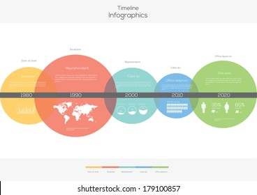 Infografik zu Zeitkreisen. Flaches Vectordesign-Template.