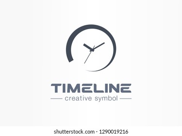 Timeline creative symbol concept. Time start, deadline timer, pending process abstract business logo. Loading watch button, circle clock limit icon. Corporate identity logotype, company graphic design
