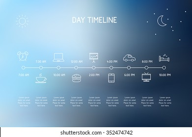 Timeline of a day - vector icons representing various actions during a day.