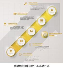 timeline description. 5 steps timeline infographic with arrow background for business design
