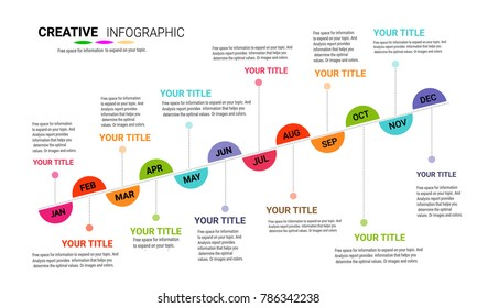 Timeline to display your data in order with Infographic, graphs,Ideal for statistic data display 12 months 1 year, Vector can be used for workflow layout, diagram, number step up options.