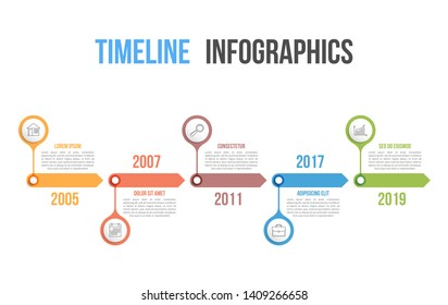 Timeline with icons, 5 elements, infographic template for web, business, presentations, vector eps10 illustration