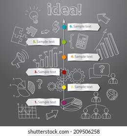 Timeline idea generation concept vector background. business illustration