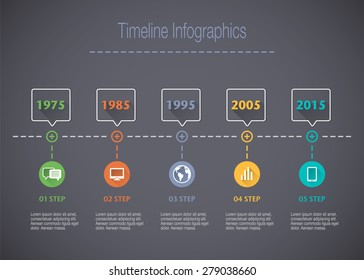 Timeline Info graphic with pointers and text with a long shadow