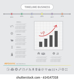 Timeline info graphics design template vector icons set