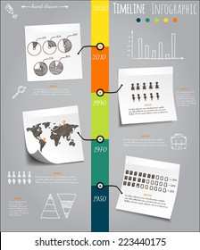 Timeline Infografic, hand drawn vector elements on sticky notes