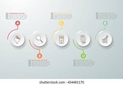 Timeline infographic 5 options,  Business concept infographic template can be used for workflow layout, diagram, number options,