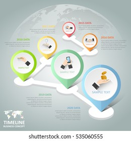 Timeline infographic 6 options,  Business concept infographic template can be used for workflow layout, diagram, number options,