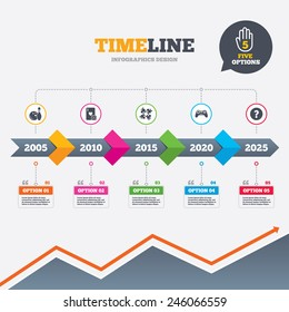 Timeline infographic with arrows. Bowling and Casino icons. Video game joystick and playing card with puzzles pieces symbols. Entertainment signs. Five options with hand. Growth chart. Vector