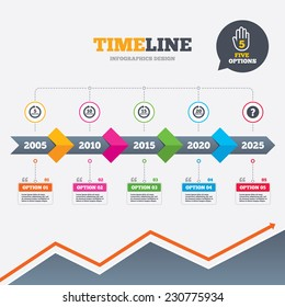 Timeline infographic with arrows. Every 5, 10, 15 and 20 minutes icons. Full rotation arrow symbols. Iterative process signs. Five options with hand. Growth chart. Vector