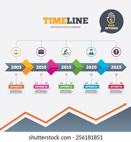 Timeline infographic with arrows. Scales of Justice icon. Client or Lawyer symbol. Auction hammer sign. Law judge gavel. Court of law. Five options with hand. Growth chart. Vector