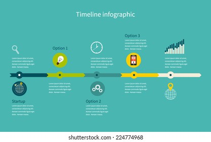 Timeline Infographic business with diagrams. With set of Icons. Vector design