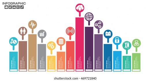 Timeline Infographic chart with many color on light background. Vector design template. 14 options.