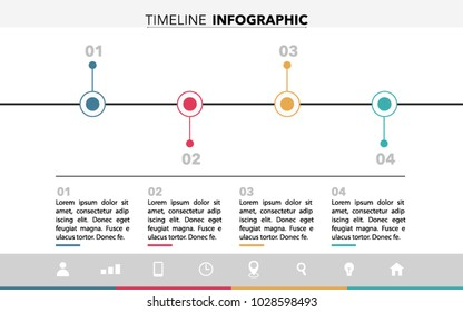 Timeline Infographic design with colours, text and icons