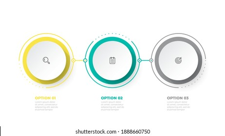 Timeline infographic design element and marketing icons. Business concept with 3 options, steps. Can be used for workflow layout, business diagram, annual report, web design.