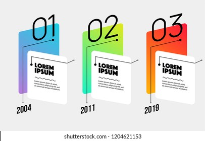 Timeline infographic design element and number options three steps with text and icon
