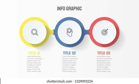 Timeline infographic design element and thin line icons. Business concept with 3 options, steps or processes. Can be used for workflow diagram, graph, presentation and chart. Vector template.