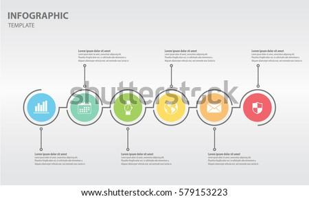 timeline infographic design template circle 6 のベクター画像素材
