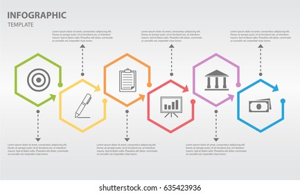 Timeline infographic design template with hexagon 6 option