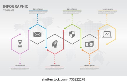 Timeline infographic design template with hexagon 6 step.
