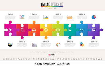 Timeline Infographic design template with icons set , Vector eps10 .