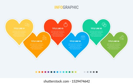 Timeline infographic design vector. 6 options, hearts workflow layout. Vector infographic timeline template.