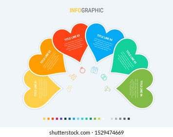 Timeline infographic design vector. 6 options, heart workflow layout. Vector infographic timeline template.
