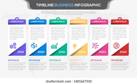 Timeline infographic design vector and  business icons suitable for workflow layout, diagram, annual report. Colorful 3D paper label isolated on world map dots template.
