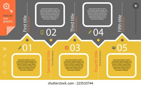 Timeline infographic with diagram and text months ago and set of line icons in retro style