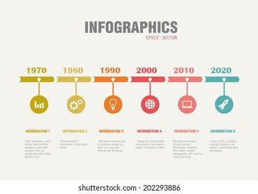 Timeline Infographic with diagrams. With set of Icons. Vector design