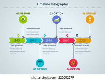 Timeline Infographic with diagrams and text in a flat style