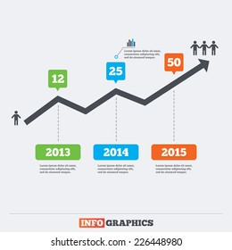 Timeline infographic elements. Increasing graph. Number of employees in the company. Vector