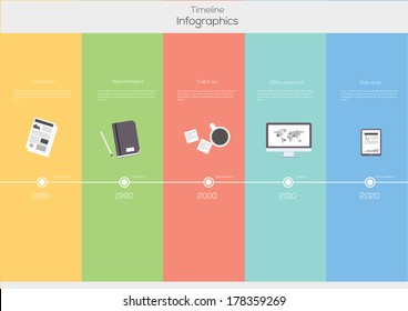 Timeline Infographic. Flat Vector design template.