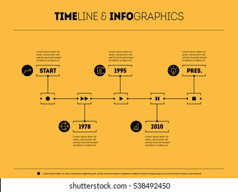 Timeline infographic with icons and buttoms - record, rewind, play, pause, stop. Time line of Social tendencies and trends graph. Business concept with options, parts, steps or technology processes