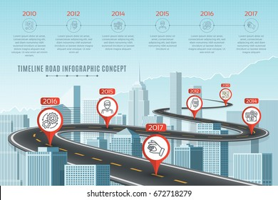 timeline infographic road concept on similar new york city skyline navigation map template vector