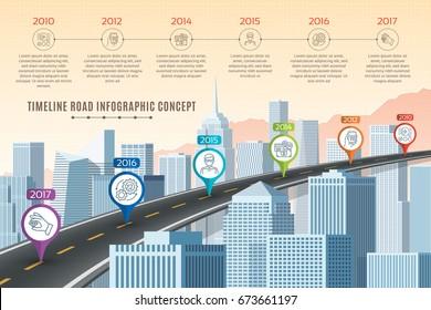 Timeline infographic road concept on similar New York City skyline. Navigation map template. Vector illustration