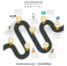 Timeline infographic road map with businessicons designed for template milestone element, modern diagram process chart Vector illustration.