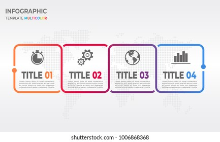 Timeline infographic square design with 4 process options