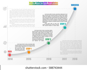 Timeline infographic template with 3 steps, start and finish option. Growth chart by years with inscription and comments. Grey colors and multicolored step points. Vector illustration.