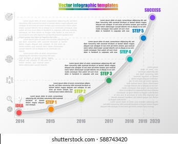 Timeline infographic template with 5 steps, start and finish option. Growth chart by years with inscription and comments. Grey colors and multicolored step points. Vector illustration.