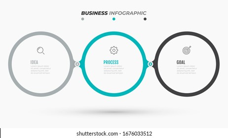 Timeline Infographic template. Business concept with 3 steps, options, marketing icons. Vector illustration. Can be used for workflow diagram, info chart, graph, web design.