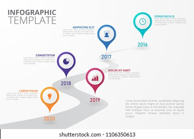 Timeline Infographic template for business, education, web design, banners, brochures, flyers, diagram, workflow, timeline. Vector infographic element.