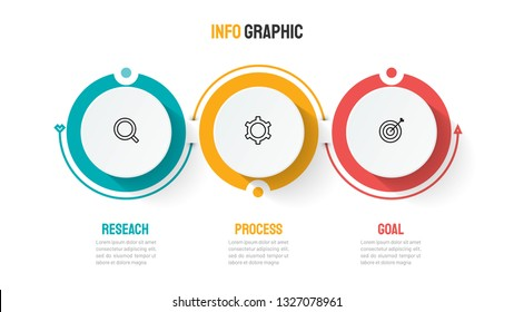 Timeline infographic template design with circles and marketing icons. Business concept with 3 options, steps or processes. Can be used for workflow layout, diagram, graph, info chart, presentations.