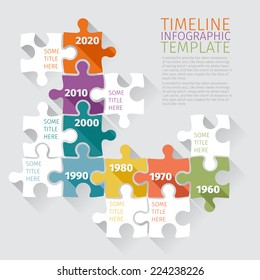 Timeline Infographic template with retro puzzle. Flat design
