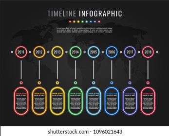 timeline infographic template with round neon glow elements and text boxes on dark background with world map silhouette